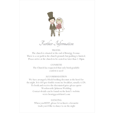 097 Wedding Couple Information Cards