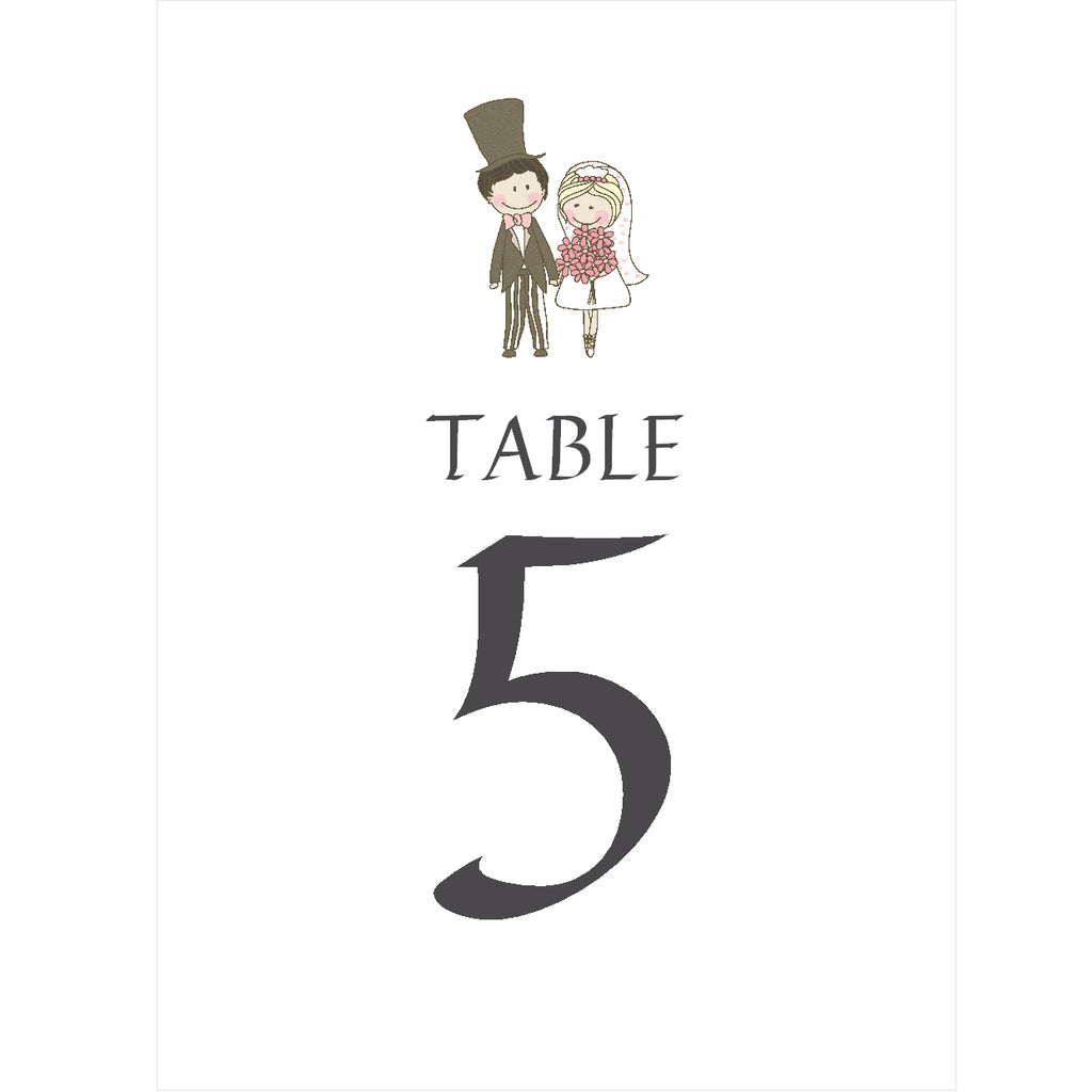 097 Wedding Couple Table Number Cards