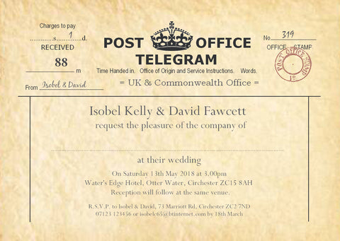 003 PO Telegram Wedding Invitations