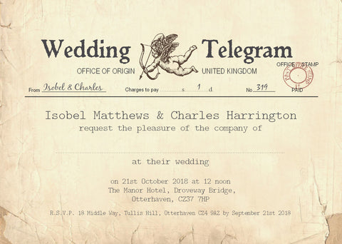 023 Cupid Telegram Wedding Invitations