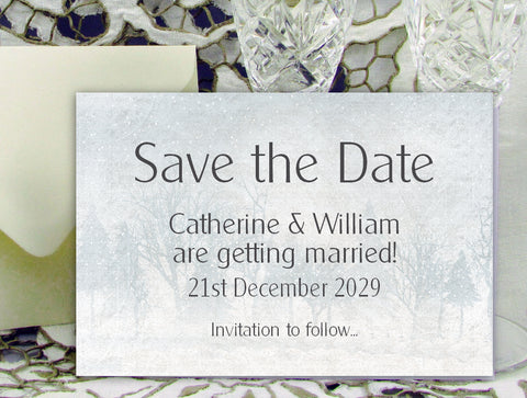 078 Snow Scene Save the Date Card