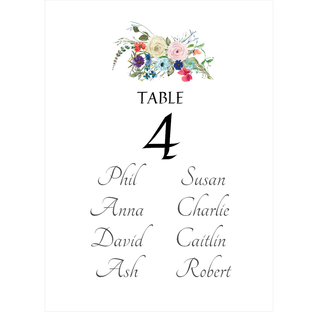015 Happy Ever After Seating Plan Cards