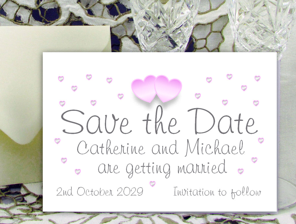 055 Pink Hearts Save the Date Card