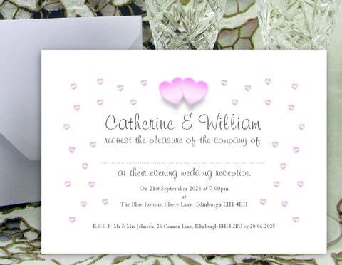 055 Pink Hearts Wedding Invitations