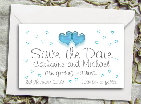 086 Turquoise Hearts Save the Date Magnet