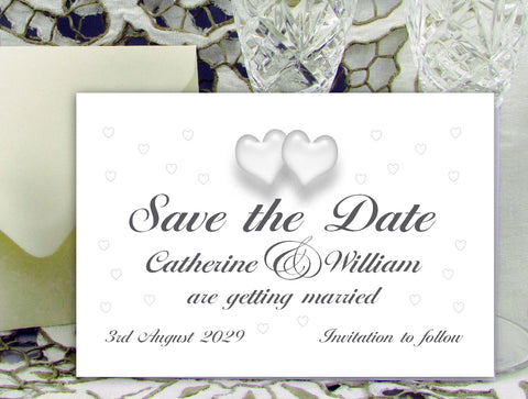 083 Traditional Hearts Save the Date Card