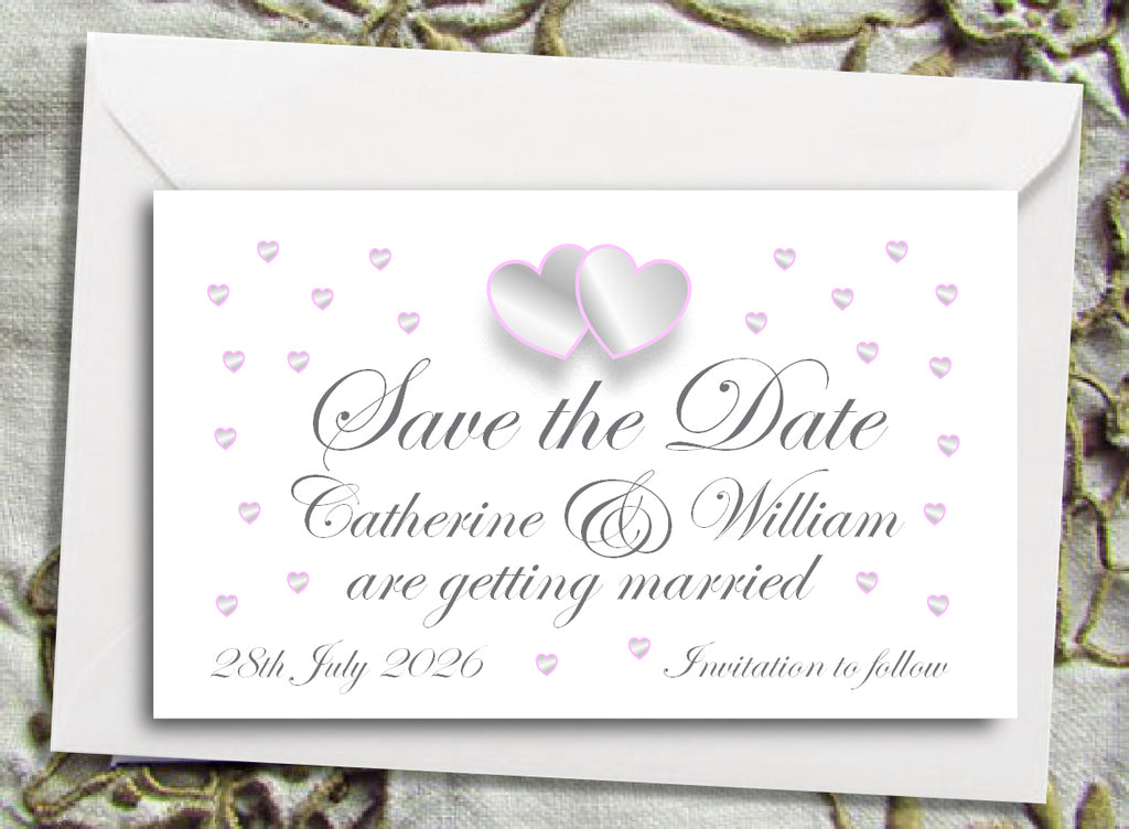 018 Grey and Pink Hearts Save the Date Magnet