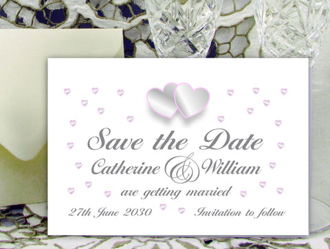 018 Grey and Pink Hearts Save the Date Card