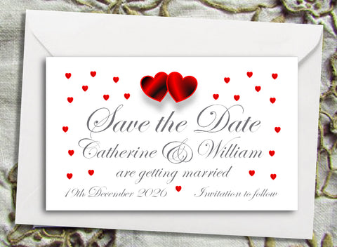 064 Red Hearts Save the Date Magnet