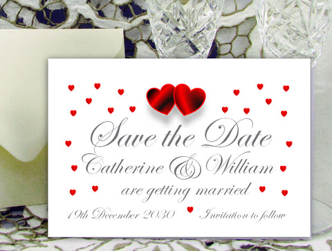 064 Red Hearts Save the Date Card