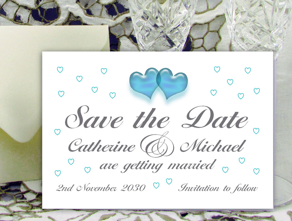 086 Turquoise Hearts Save the Date Card