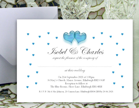 086 Turquoise Hearts Wedding Invitations