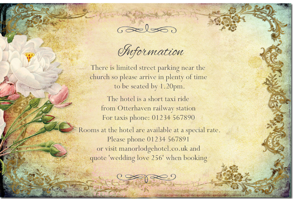 016 Flower Filigree Information Cards