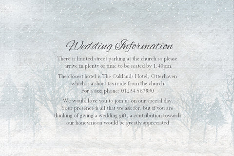 022 Frosty Wonderland Information Cards