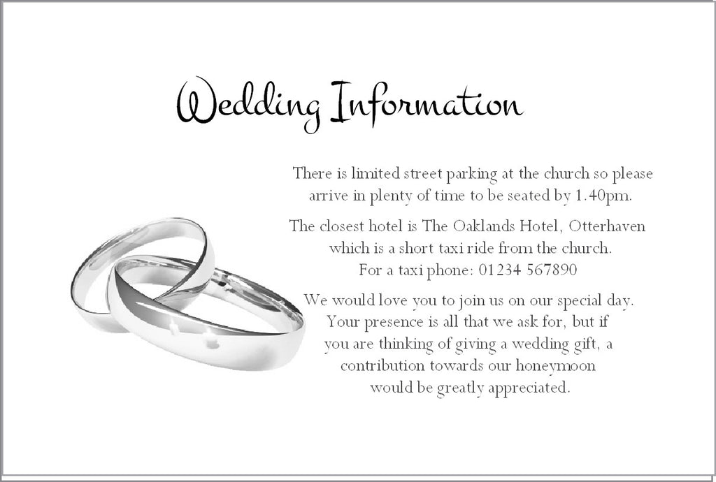 059 Wedding Rings Information Cards