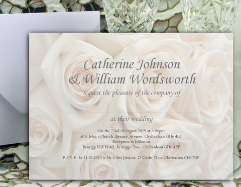 020 Ivory Roses Wedding Invitations