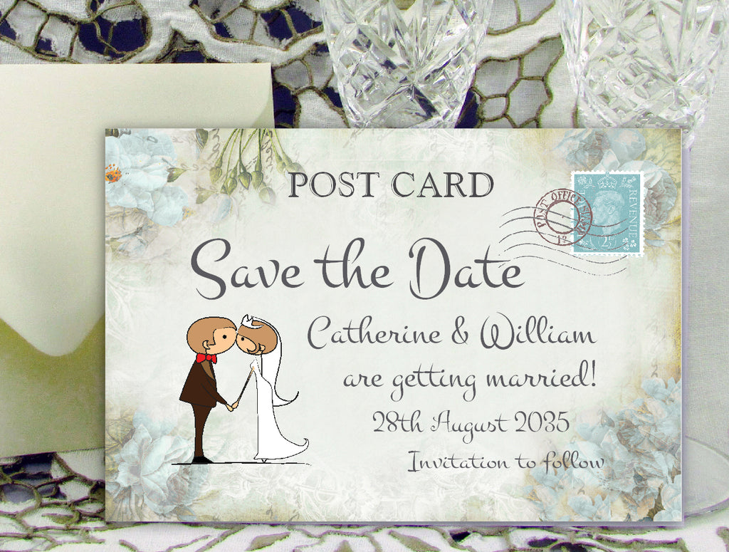 046 Kiss Couple Flowers Save the Date Card