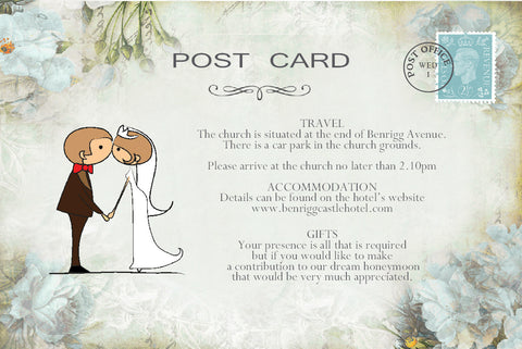 046 Kiss Couple Flowers Information Cards