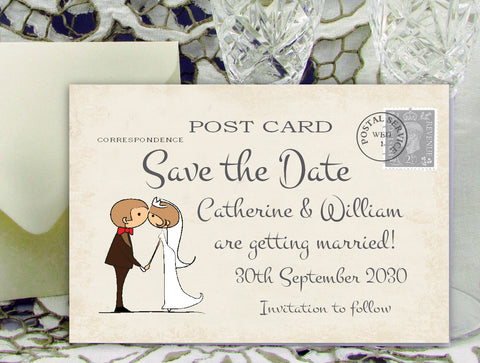 034 Couple Kissing Save the Date Card