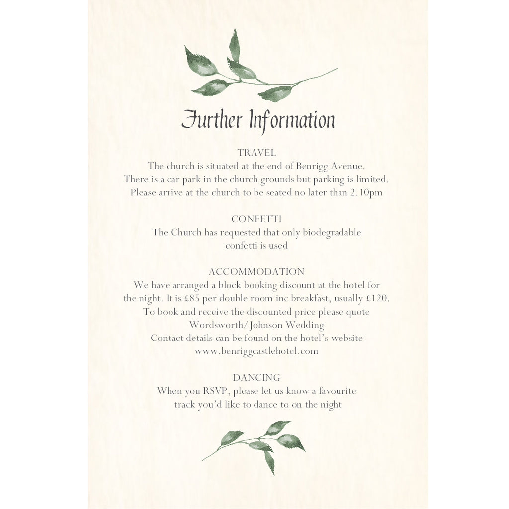 004 Summer Leaves Information Cards