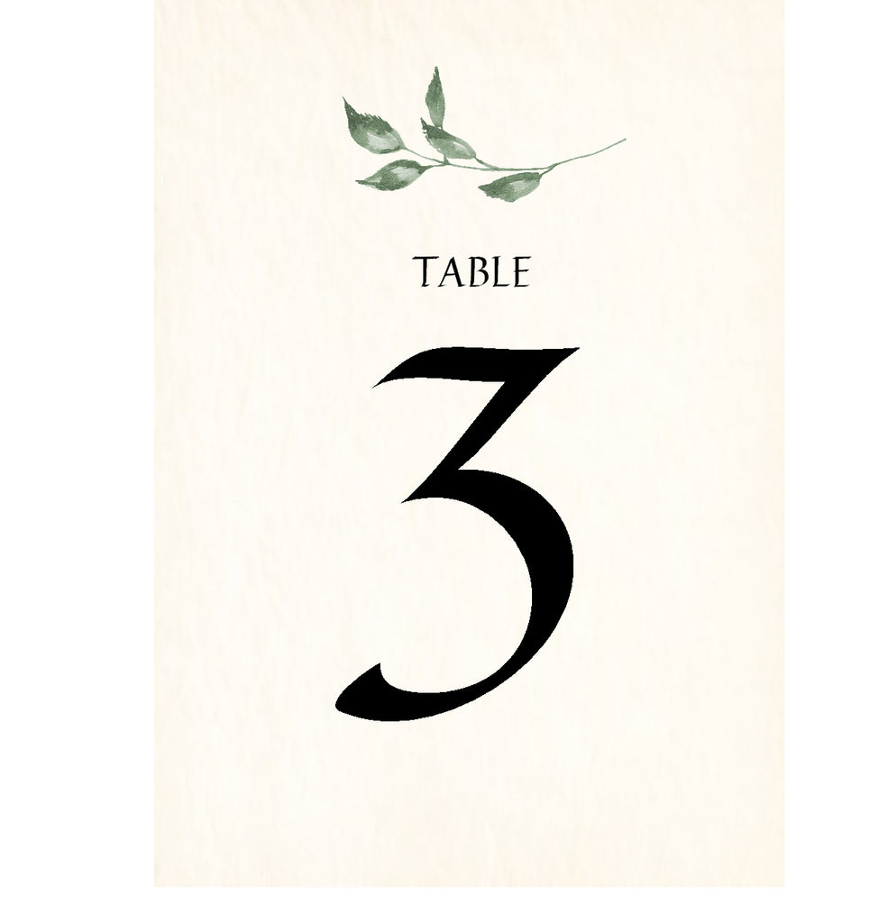 004 Summer Leaves Table Number Cards