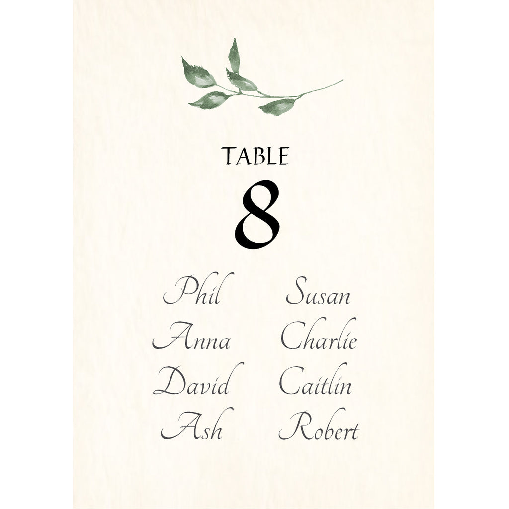 004 Summer Leaves Seating Plan Cards