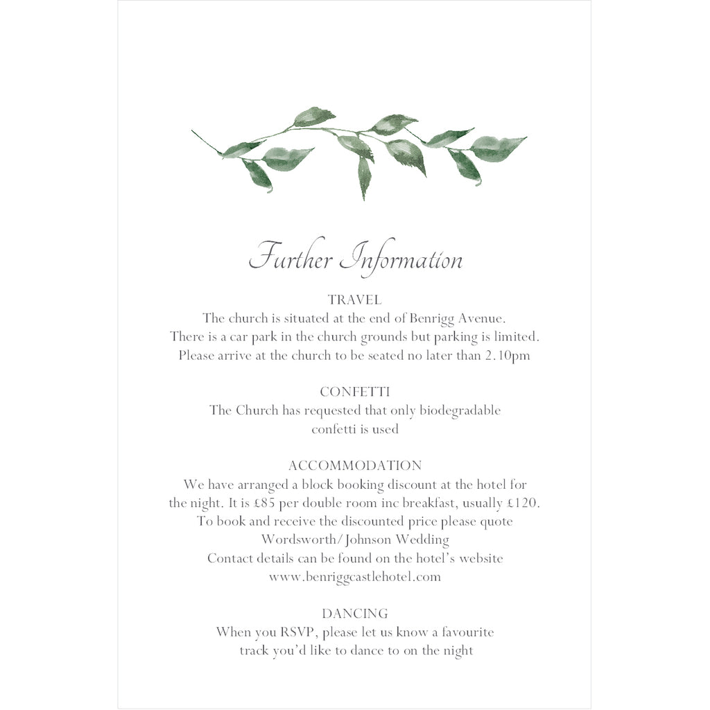 030 Green Leaves Information Cards