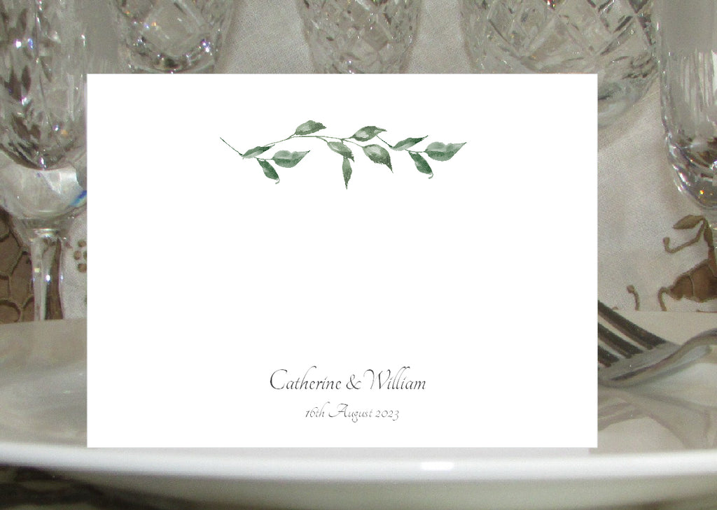 030 Green Leaves Place Cards