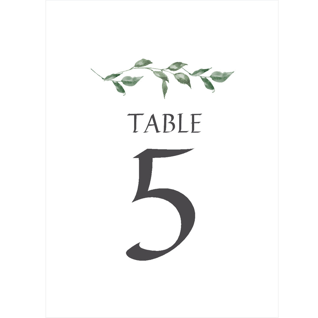 030 Green Leaves Table Number Cards