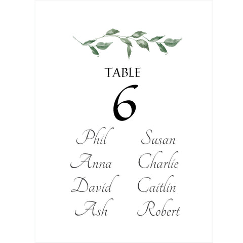 030  Green Leaves Seating Plan Cards