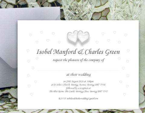 083 Traditional Hearts Wedding Invitations