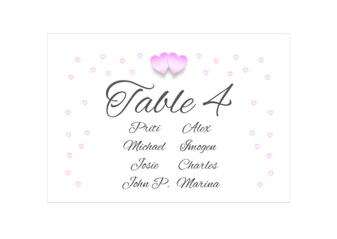 055 Pink Hearts Seating Plan Cards