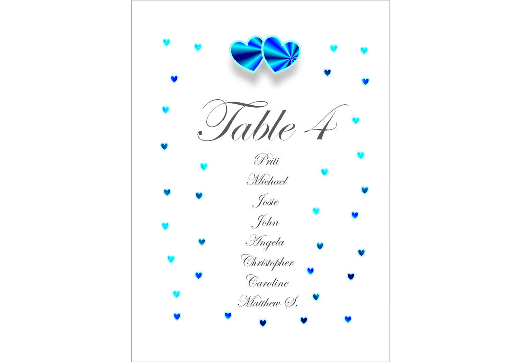 008 Blue Hearts Seating Plan Cards