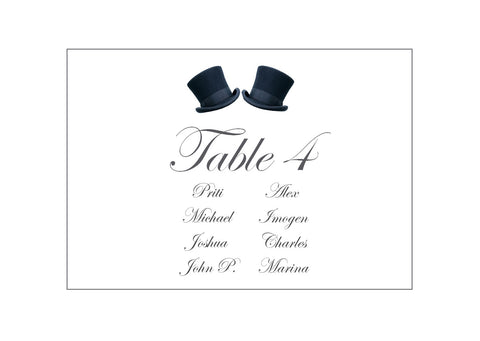 081 Top Hats Seating Plan Cards
