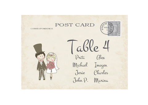 071 Shabby Couple Seating Plan Cards