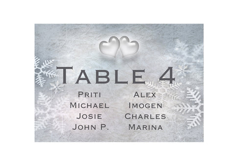 012 Snowflake Hearts Seating Plan Cards