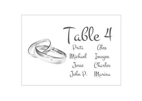 059 Wedding Rings Seating Plan Cards