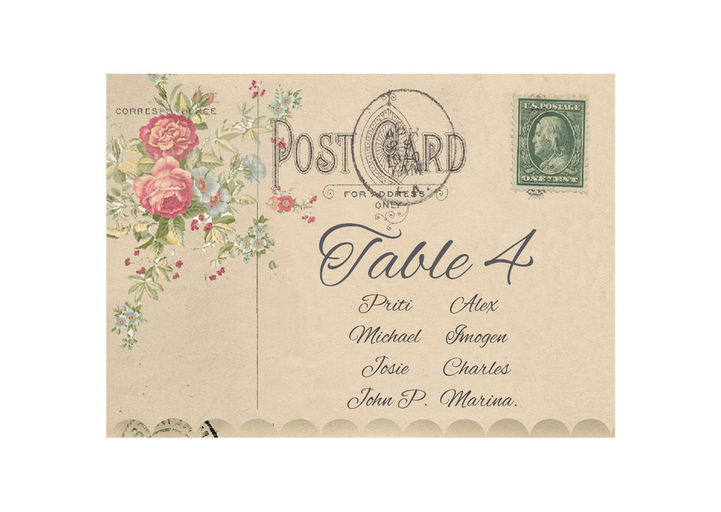 010 Flower Postcard Seating Plan Cards