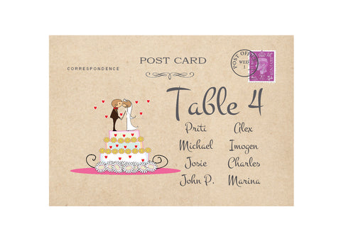 087 Wedding Cake Couple Seating Plan Cards
