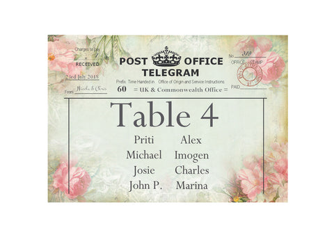 057 Pink Telegram Seating Plan Cards