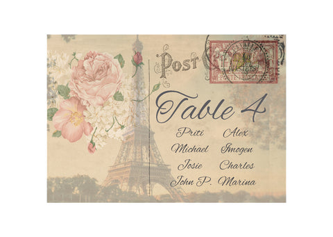 056 Paris Postcard Seating Plan Cards