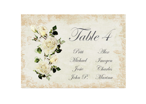 068 Rose Shabby Seating Plan Cards