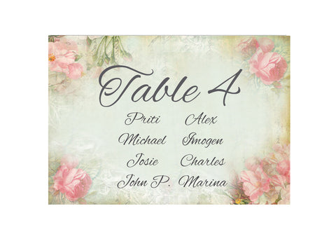 053 Pink Corners Seating Plan Cards