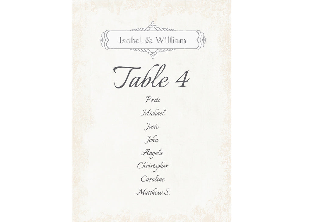 028 Classic Seating Plan Cards