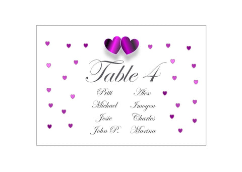 061 Purple Hearts Seating Plan Cards