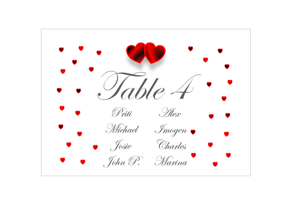 064 Red Hearts Seating Plan Cards