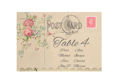 067 Rose Bouquet Seating Plan Cards