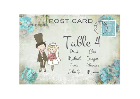 082 Turquoise Flower Seating Plan Cards