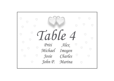 083 Traditional Hearts Seating Plan Cards