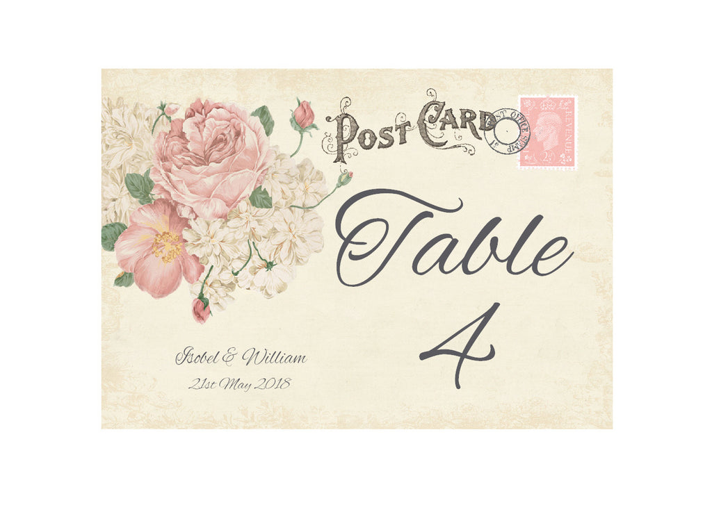 042 Ivory Postcard Table Number Cards